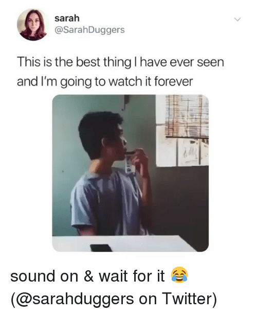 Memes, Twitter, and Best: Sarah  @SarahDuggers  This is the best thing I have ever seen  and I'm going to watch it forever sound on & wait for it 😂 (@sarahduggers on Twitter)