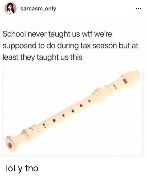 Memes, School, and Taxes: sarcasm only  School never taught us wt we're  supposed to do during tax season but at  least they taught us this lol y tho
