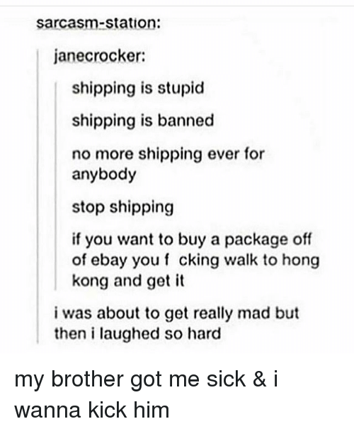 eBay, Tumblr, and Hong Kong: sarcasm-station:  janecrocker:  shipping is stupid  shipping is banned  no more shipping ever for  anybody  stop shipping  if you want to buy a package off  of ebay you f cking walk to hong  kong and get it  i was about to get really mad but  then i laughed so hard my brother got me sick & i wanna kick him