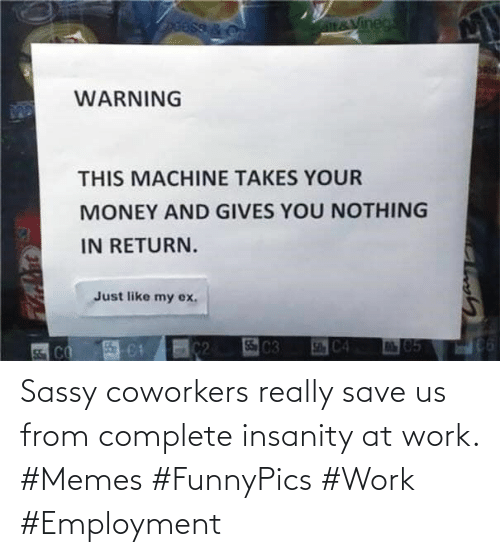 Memes, Work, and Coworkers: Sassy coworkers really save us from complete insanity at work. #Memes #FunnyPics #Work #Employment