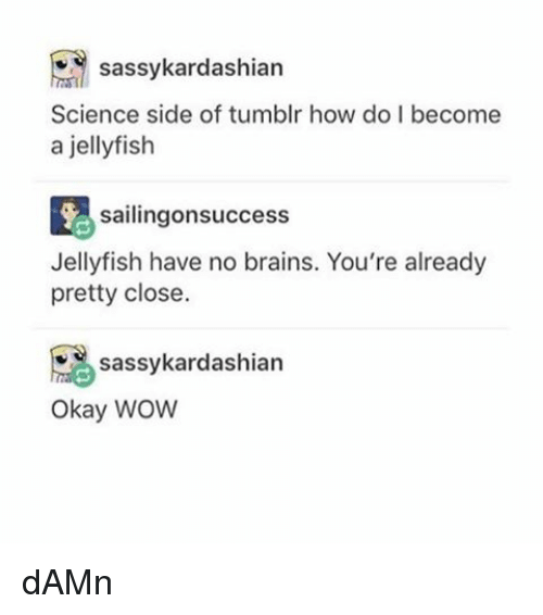 Brains, Memes, and Tumblr: sassy kardashian  Science side of tumblr how do become  a jellyfish  sailingonsuccess  Jellyfish have no brains. You're already  pretty close.  sassykardashian  Okay WOW dAMn
