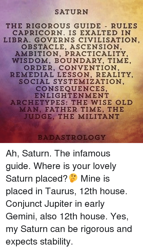 SATURN THE RIGOROUS GUIDE RULES CAPRICORN IS EXALTED IN