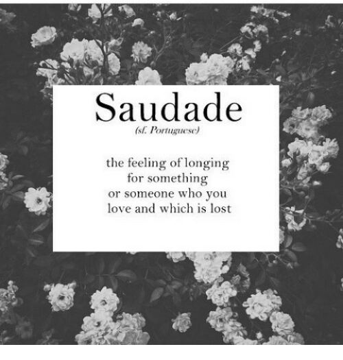 Love, Lost, and Portuguese: Saudade  (st. Portuguese)  the feeling of longing  for something  or someone who you  love and which is lost
