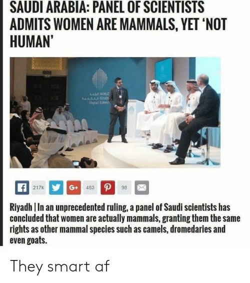 SAUDI ARABIA PANEL OF SCIENTISTS ADMITS WOMEN ARE MAMMALS YET NOT