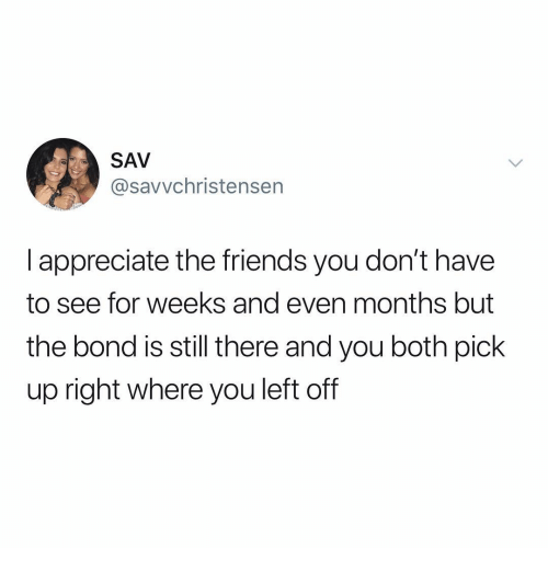 Friends, Memes, and Appreciate: SAV  @savvchristensen  l appreciate the friends you don't have  to see for weeks and even months but  the bond is still there and you both pick  up right where you left off