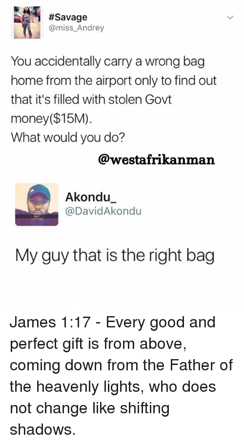 Memes, Money, and Savage:  #Savage  @miss Andrey  You accidentally carry a wrong bag  home from the airport only to find out  that it's filled with stolen Govt  money ($15M)  What would you do?  @westafrikanman  Akondu  @David Akondu  My guy that is the right bag James 1:17 - Every good and perfect gift is from above, coming down from the Father of the heavenly lights, who does not change like shifting shadows.
