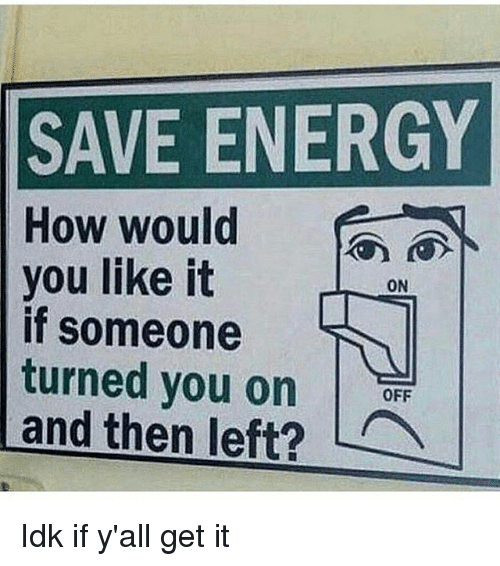 SAVE ENERGY How Would You Like It if Someone Turned You on ! And