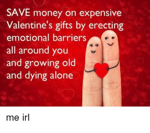 Being Alone, Money, and Old: SAVE money on expensive  Valentine's gifts by erecting  emotional barriers  all around you  and growing old  and dying alone  me irl