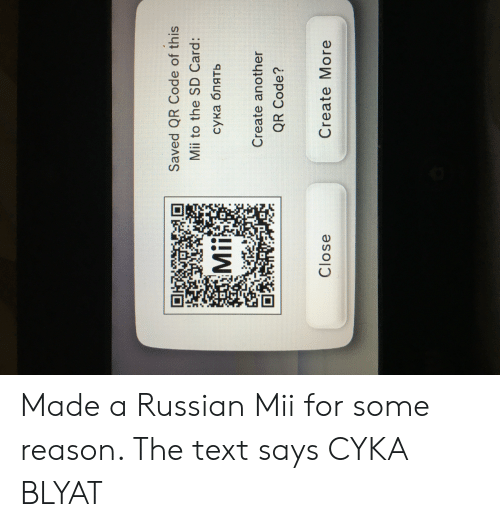 Saved QR Code of This Mii to the SD Card Mii сука блять