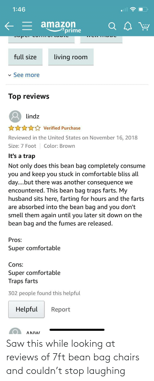 Saw, Reviews, and Looking: Saw this while looking at reviews of 7ft bean bag chairs and couldn't stop laughing