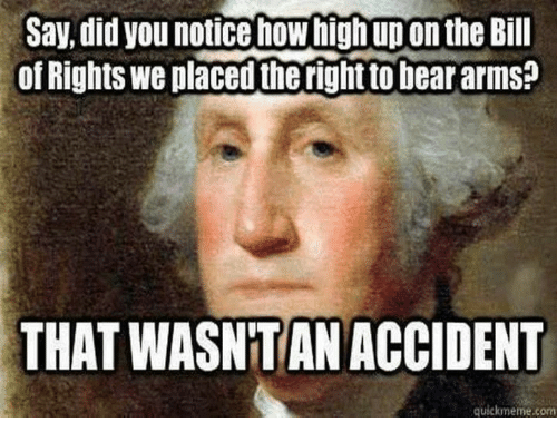 How High, Memes, and Bear: Say, did you notice how high up on the Bill  of Rights we placed the right to bear arms?  THAT WASNTAN ACCIDENT  quickmeme.com