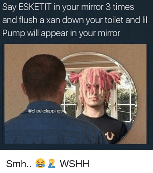 Memes, Smh, and Wshh: Say ESKETIT in your mirror 3 times  and flush a xan down your toilet and lil  Pump will appear in your mirror  @cheekclappings  ひ Smh.. 😂🤦♂️ WSHH