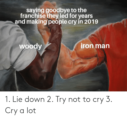 Iron Man, Reddit, and Led: saying goodbye to the  franchise they led for years  and making people cry in 2019  iron man  woody 1. Lie down 2. Try not to cry 3. Cry a lot