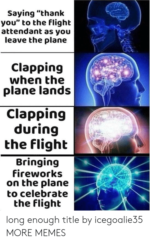 "Dank, Memes, and Target: Saying ""thank  you"" to the flight  attendant as you  leave the plane  Clapping  when the  plane lands  Clapping  during  the flight  Bringing  fireworks  on the plane  to celebrate  the flighlt long enough title by icegoalie35 MORE MEMES"