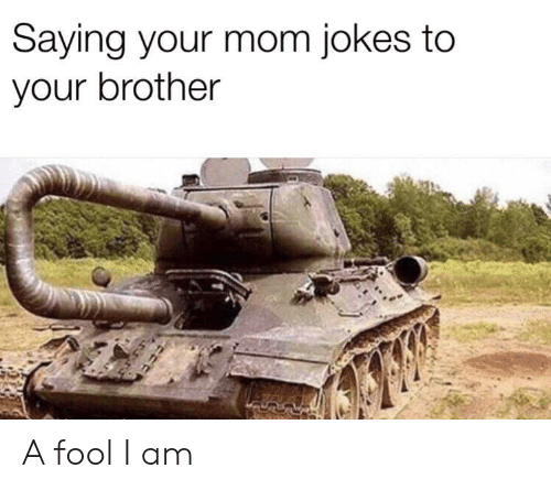 Jokes, Mom, and Brother: Saying your mom jokes to  your brother A fool I am