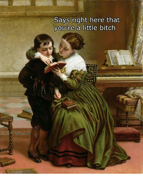 Bitch, Classical Art, and Right: Says right here that  you're a little bitch
