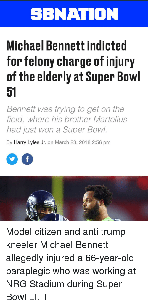 SBNATION Michael Bennett Indicted for Felony Charge of Injury of the ... 16b5b1569