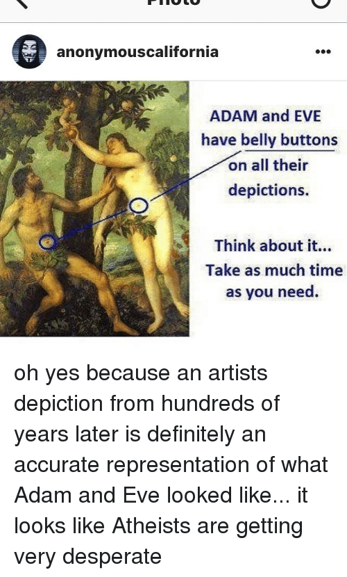Did adam and eve have belly buttons