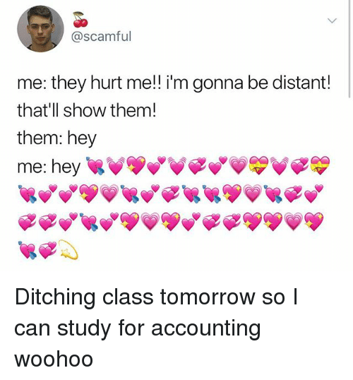 Memes, Tomorrow, and Accounting: @scamful  me: they hurt me!! i'm gonna be distant!  that'll show them  them: hey  me: hey Ditching class tomorrow so I can study for accounting woohoo