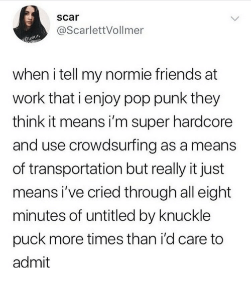 Friends, Pop, and Work: scar  @ScarlettVollmer  when i tell my normie friends at  work that i enjoy pop punk they  think it means i'm super hardcore  and use crowdsurfing as a means  of transportation but really it just  means i've cried through all eight  minutes of untitled by knuckle  puck more times than i'd care to  admit