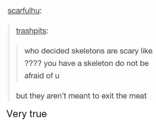True, Who, and Meat: scarfulhu:  trashpits:  who decided skeletons are scary like  ???? you have a skeleton do not be  afraid of u  but they aren't meant to exit the meat Very true