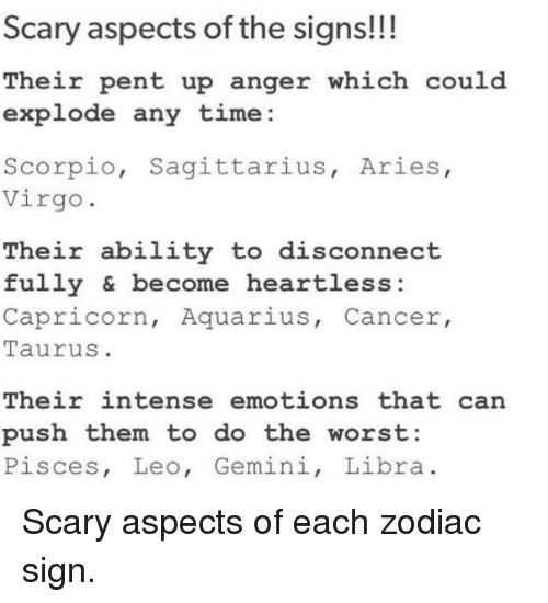 Scary Aspects of the Signs!!! Their Pent Up Anger Which Could