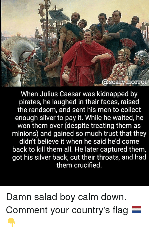 Memes, Julius Caesar, and Minions: @scaryhorror  scary horror  When Julius Caesar was kidnapped by  pirates, he laughed in their faces, raised  the randsom, and sent his men to collect  enough silver to pay it. While he waited, he  won them over (despite treating them as  minions) and gained so much trust that they  didn't believe it when he said he'd come  back to kill them all. He later captured them,  got his silver back, cut their throats, and had  them crucified Damn salad boy calm down. Comment your country's flag 🇳🇱👇
