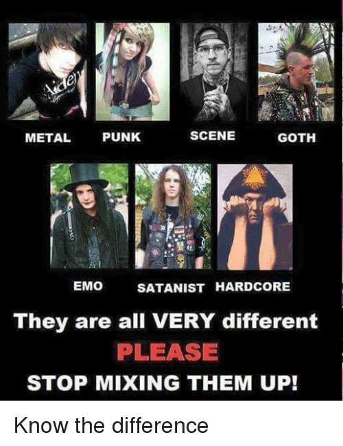 Scene Metal Punk Goth Emo Satanist Hardcore They Are All Very