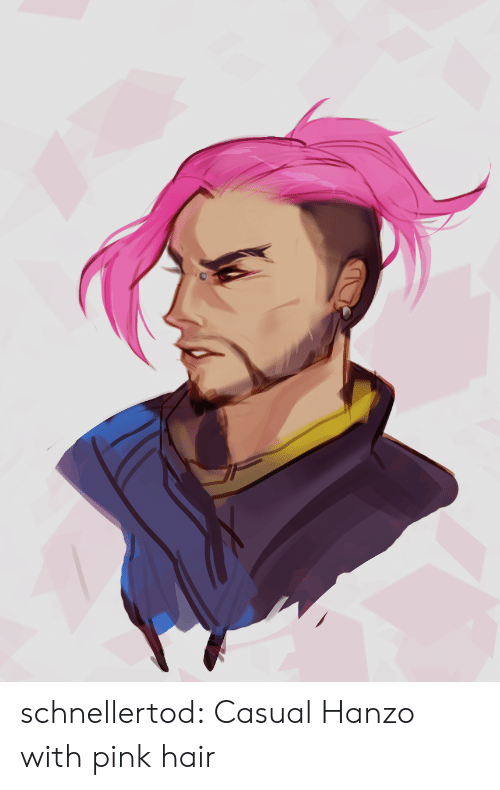Tumblr, Blog, and Hair: schnellertod:  Casual Hanzo with pink hair