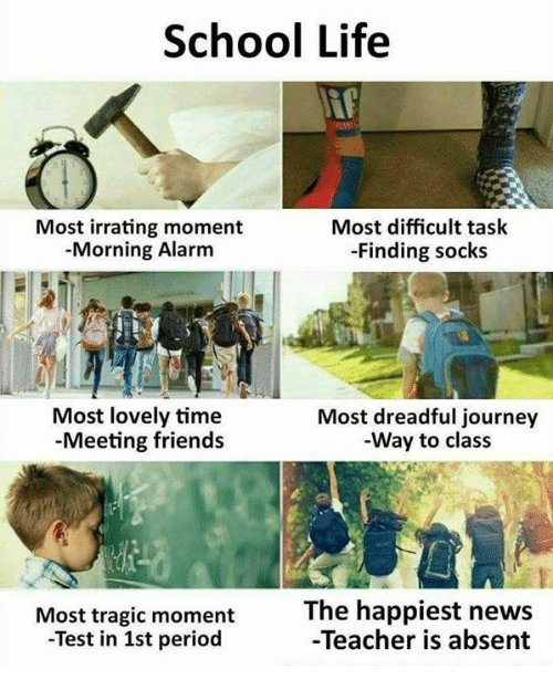 Friends, Journey, and Life: School Life  Most irrating moment  Morning Alarm  Most difficult task  -Finding socks  Most lovely time  -Meeting friends  Most dreadful journey  Way to class  Most tragic moment  -Test in 1st period  The happiest news  -Teacher is absent