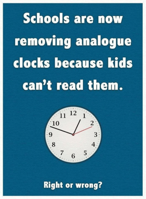 Schools Are Now Removing Analogue Clocks Because Kids Can't