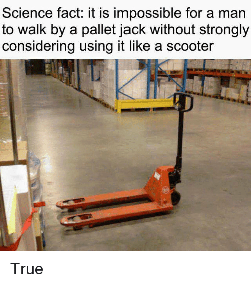 Dank, Scooter, and True: Science fact: it is impossible for a man  to walk by a pallet jack without strongly  considering using it like a scooter True