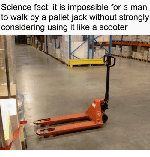 Dank, Scooter, and Science: Science fact: it is impossible for a man  to walk by a pallet jack without strongly  considering using it like a scooter