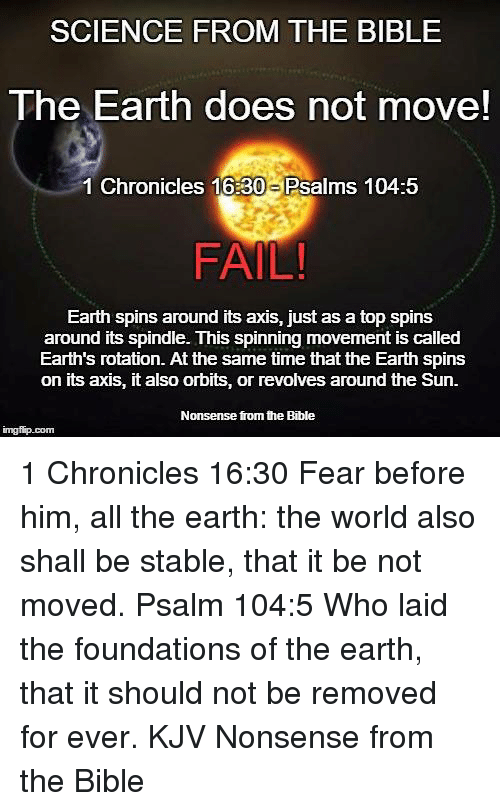 Science From The Bible The Earth Does Not Move 1 Chronicles 1630