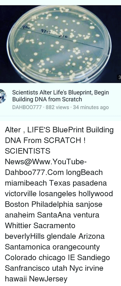 Scientists alter lifes blueprint begin building dna from scratch chicago memes and news scientists alter lifes blueprint begin building dna from malvernweather Choice Image
