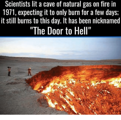 Cave Of Natural Gas Lit On Fire In