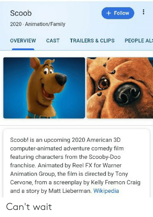 Scoob Follow 2020 Animationfamily People Al Cast Overview