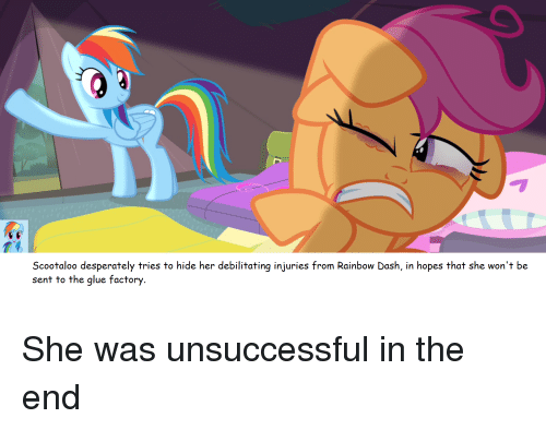 Scootaloo Desperately Tries To Hide Her Debilitating Injuries From Rainbow Dash In Hopes That She Won T Be Sent To The Glue Factory She Was Unsuccessful In The End Rainbow Meme On Because this quote is truely awesome ! scootaloo desperately tries to hide her