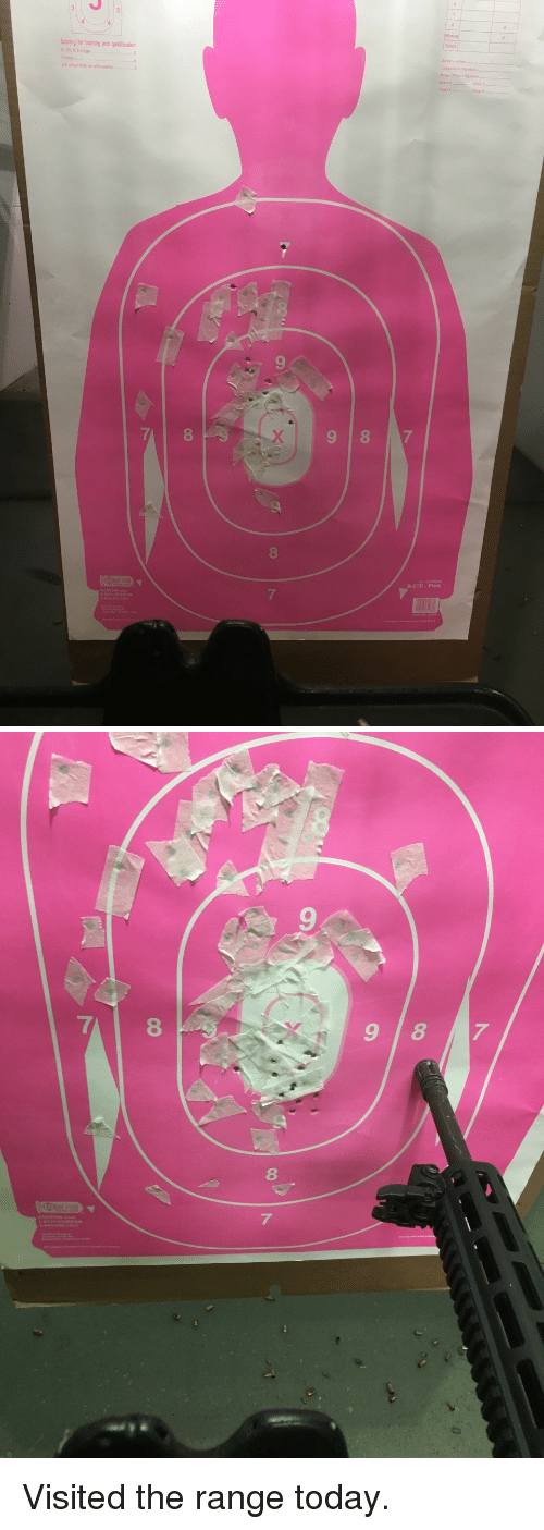 Pink, Today, and Rings: Scoring for training and qualification  X. 10,9,8 rings  ying  Al other hits  9  8  9 87  8  -22E-Pink  7   9  8  7 <p>Visited the range today.</p>