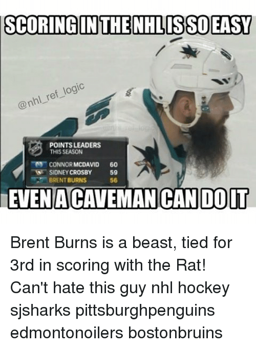 Memes, Brent Burns, and 🤖: SCORING IN THE NHLISSO EASY  ref logic  @nhl POINTS LEADERS  THIS SEASON  CONNOR MCDAVID 60  SIDNEY CROSBY  59  BRENT BURNS  56  EVEN ACAVEMAN CAN DOIT Brent Burns is a beast, tied for 3rd in scoring with the Rat! Can't hate this guy nhl hockey sjsharks pittsburghpenguins edmontonoilers bostonbruins