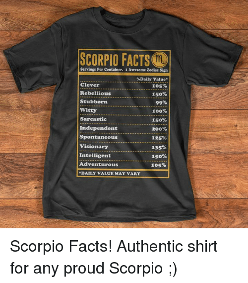 SCORPIO FACTS Ma Servings Per Container 1 Awesome Zodiac Sign %Daily