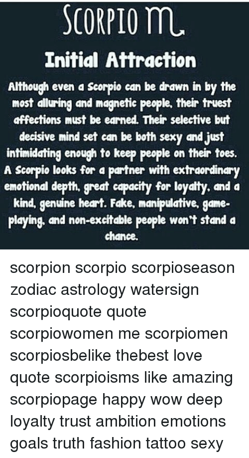 Scorpio M Initial Attraction Although Even A Scorpio Can Be Drawn In