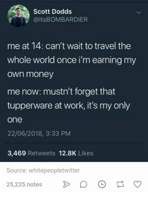Money, Work, and Travel: Scott Dodds  @itsBOMBARDIER  me at 14: can't wait to travel the  whole world once i'm earning my  own money  me now: mustn't forget that  tupperware at work, it's my only  one  22/06/2018, 3:33 PM  3,469 Retweets 12.8K Likes  Source: whitepeopletwitter  25,225 notes O