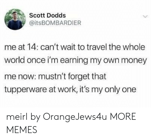 Dank, Memes, and Money: Scott Dodds  @itsBOMBARDIER  me at 14: can't wait to travel the whole  world once i'm earning my own money  me now: mustn't forget that  tupperware at work, it's my only one meirl by OrangeJews4u MORE MEMES