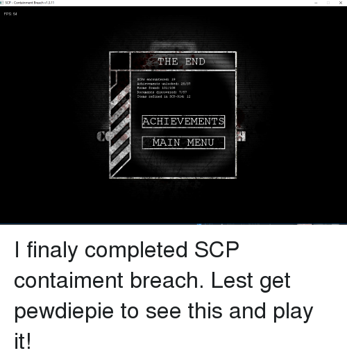 SCP - Containment Breach V1311 FPS 54 THE END SCPs