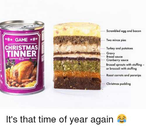 Christmas, Roast, and Brussel Sprouts: Scrambled egg and bacon  GAME  CHRISTMAS  TINNER  _ Two mince pies  Turkey and potatoes  Gravy  Bread sauce  Cranberry sauce  Brussel sprouts with stuffing -  or broccoli with stuffing  Roast carrots and parsnips  Christmas pudding It's that time of year again 😂