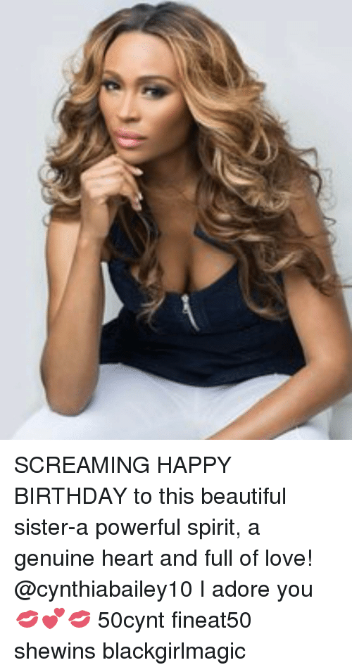 Beautiful, Birthday, and Love: SCREAMING HAPPY BIRTHDAY to this beautiful sister-a powerful spirit, a genuine heart and full of love! @cynthiabailey10 I adore you 💋💕💋 50cynt fineat50 shewins blackgirlmagic