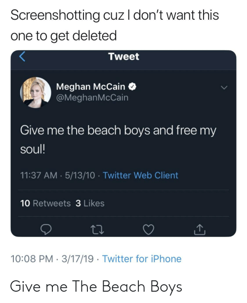 Screenshotting Cuz I Don T Want This One To Get Deleted Tweet Meghan Mccain Give Me The Beach Boys And Free My Soul 1137 Am 51310 Twitter Web Client 10 Retweets 3 Likes