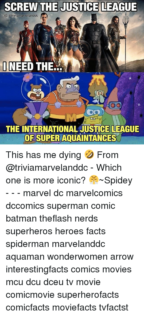Batman, Facts, and Memes: SCREW THE JUSTICE LEAGUE  G:@triviamarvelanddc  I NEED THE..  THE INTERNATIONAL JUSTICE LEAGUE  OF SUPER AQUAINTANCES This has me dying 🤣 From @triviamarvelanddc - Which one is more iconic? 😤~Spidey - - - marvel dc marvelcomics dccomics superman comic batman theflash nerds superheros heroes facts spiderman marvelanddc aquaman wonderwomen arrow interestingfacts comics movies mcu dcu dceu tv movie comicmovie superherofacts comicfacts moviefacts tvfactst