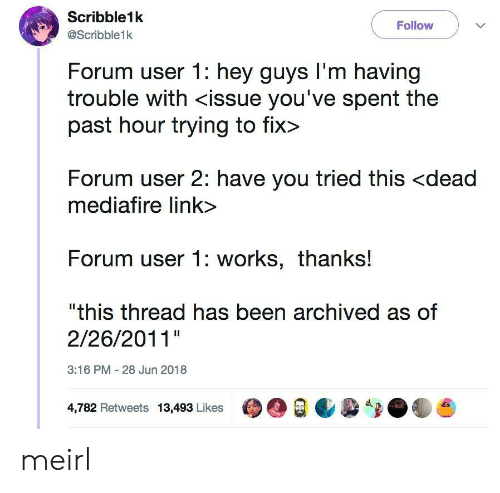 """Link, MeIRL, and Been: Scribble1k  @Scribble1k  Follow  Forum user 1: hey guys l'm having  trouble with <issue you've spent the  past hour trying to fix>  Forum user 2: have you tried this <dead  mediafire link>  Forum user 1: works, thanks!  """"this thread has been archived as of  2/26/2011""""  3:16 PM 28 Jun 2018  4,782 Retweets 13,493 LikesO meirl"""
